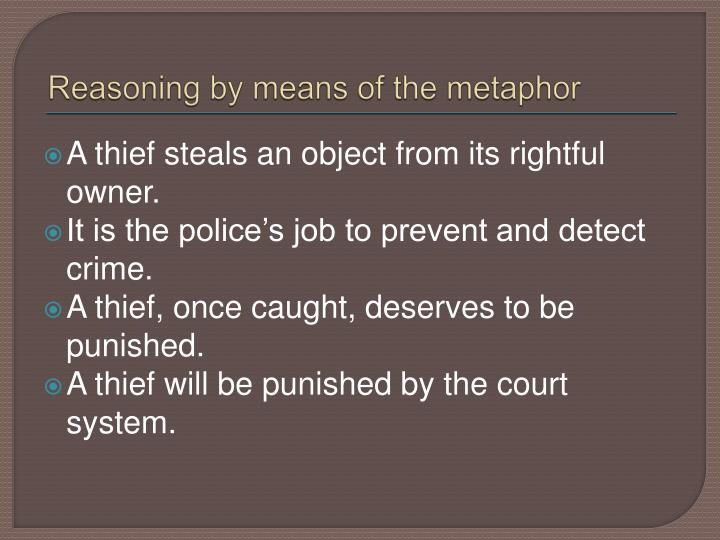 Reasoning by means of the metaphor