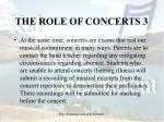 the role of concerts 3