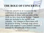 the role of concerts 4
