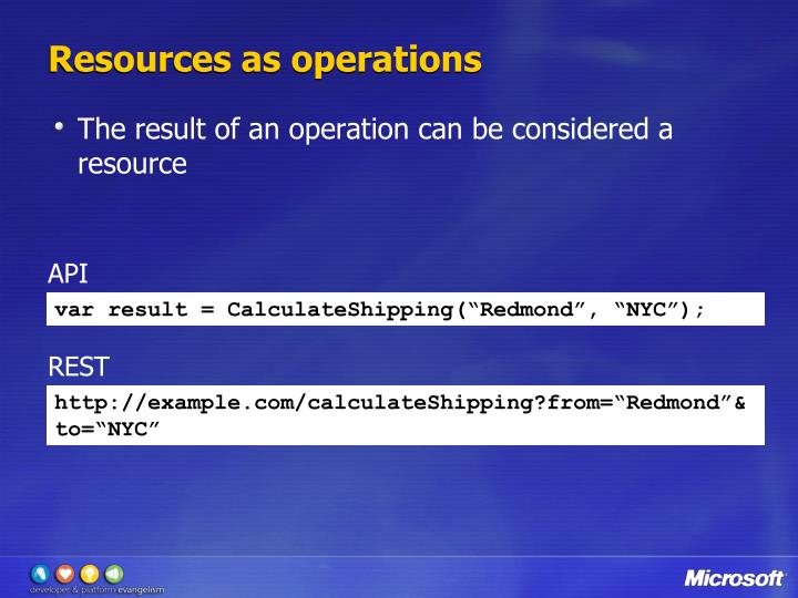 Resources as operations