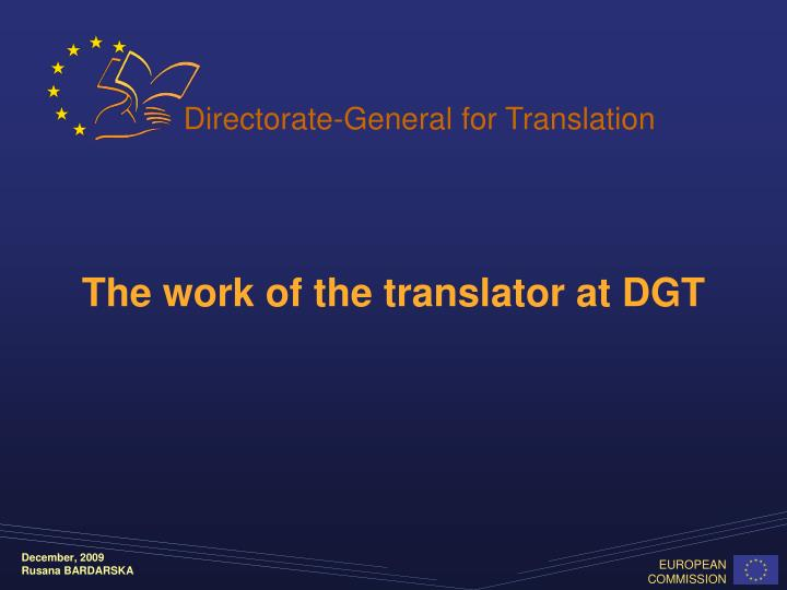 the work of the translator at dgt n.