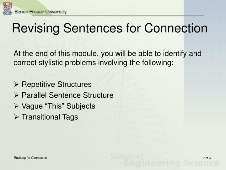 Revising sentences for connection1