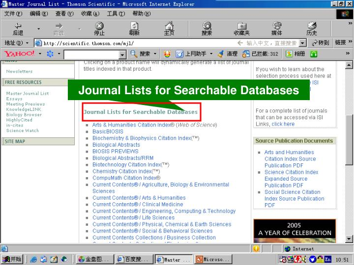 Journal Lists for Searchable Databases