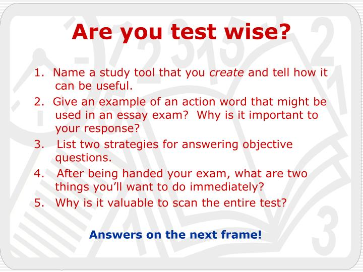 1.  Name a study tool that you