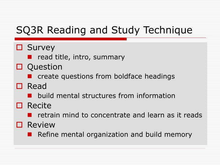 SQ3R Reading and Study Technique