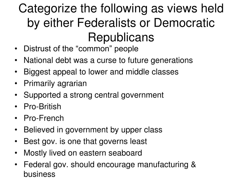 Categorize the following as views held by either Federalists or Democratic Republicans