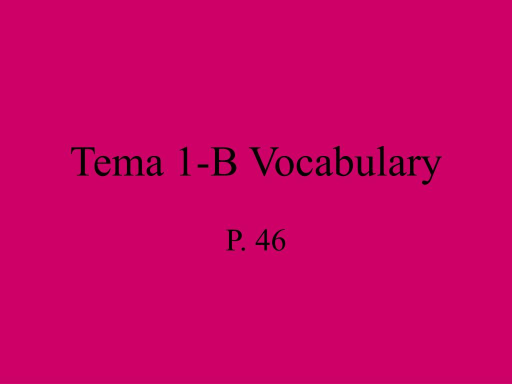 tema 1 b vocabulary l.