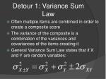 detour 1 variance sum law