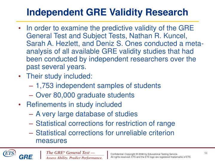 Independent GRE Validity Research