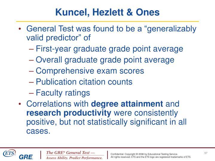 Kuncel, Hezlett & Ones