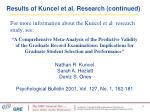 results of kuncel et al research continued