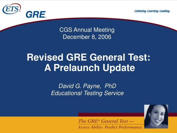 revised gre general test a prelaunch update n.