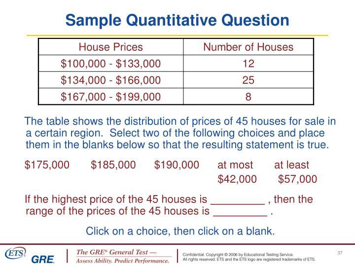 Sample Quantitative Question