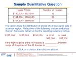sample quantitative question