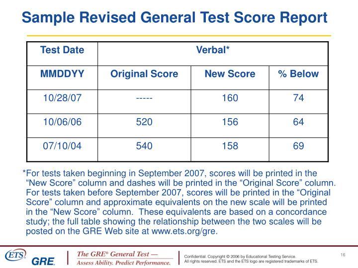 Sample Revised General Test Score Report