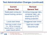 test administration changes continued