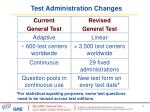 test administration changes