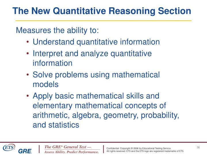 The New Quantitative Reasoning Section