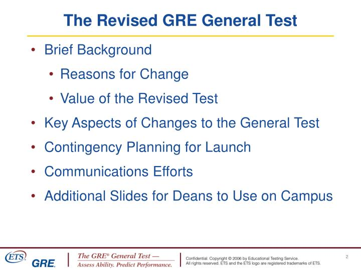 The revised gre general test
