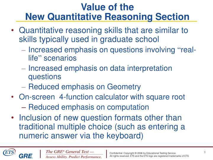 Quantitative reasoning skills that are similar to skills typically used in graduate school