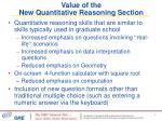 value of the new quantitative reasoning section