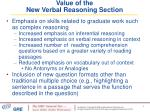 value of the new verbal reasoning section