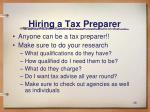 hiring a tax preparer