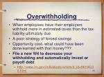 overwithholding