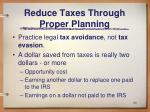 reduce taxes through proper planning