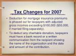 tax changes for 2007