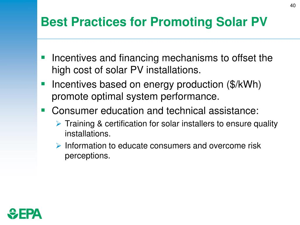 Best Practices for Promoting Solar PV