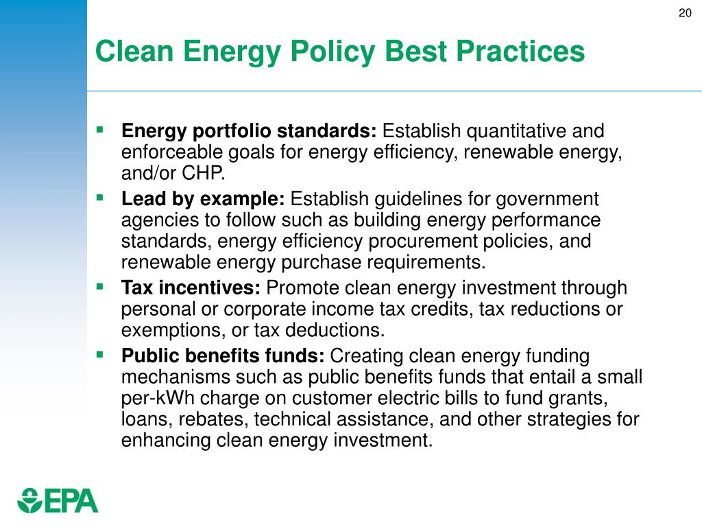 Clean Energy Policy Best Practices