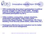 innovative results from shgs