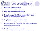 why shgs as mfis