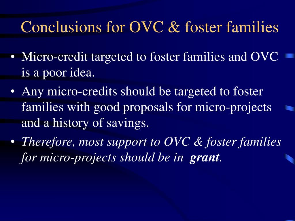 Conclusions for OVC & foster families