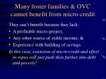 many foster families ovc cannot benefit from micro credit