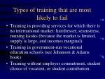 types of training that are most likely to fail