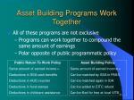 asset building programs work together