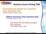 business issues driving tem