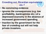 crowding out ricardian equivalence etc