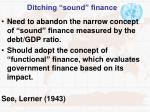ditching sound finance