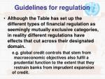 guidelines for regulation