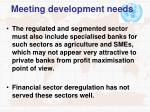 meeting development needs