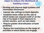 steps to reduce the likelihood of banking crises
