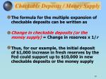 checkable deposits money supply