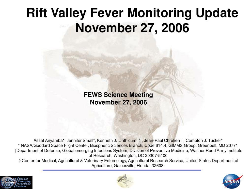 Rift Valley Fever Monitoring Update