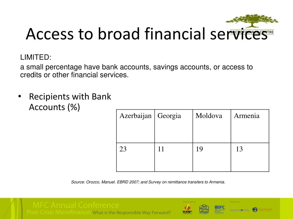 Access to broad financial services