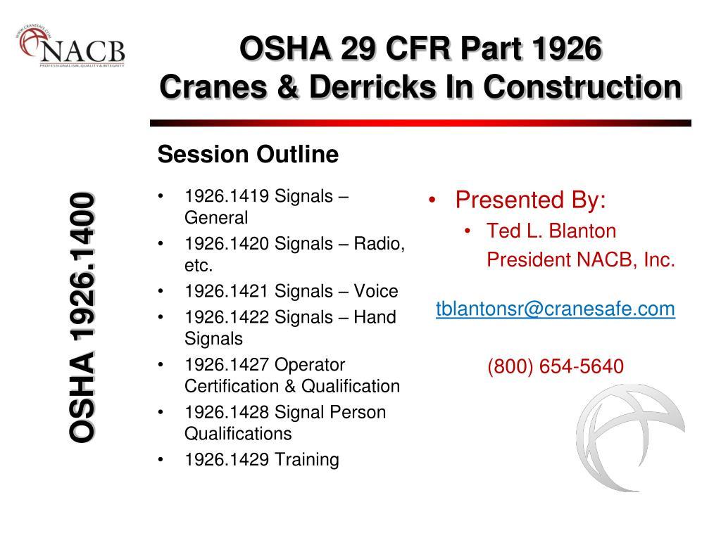 osha 29 cfr part 1926 cranes derricks in construction l.