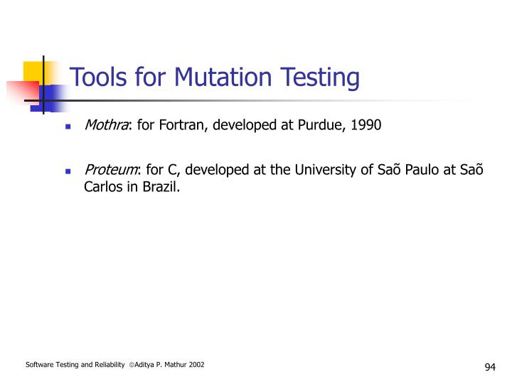 Tools for Mutation Testing