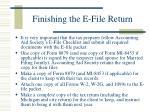 finishing the e file return